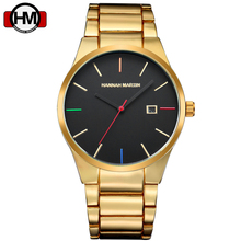 New Arrivals Hannah Martin Brand Watch Men Steel Black Gold Casual Quartz Watches Mens Date Military Clock Male Relogio Masculin