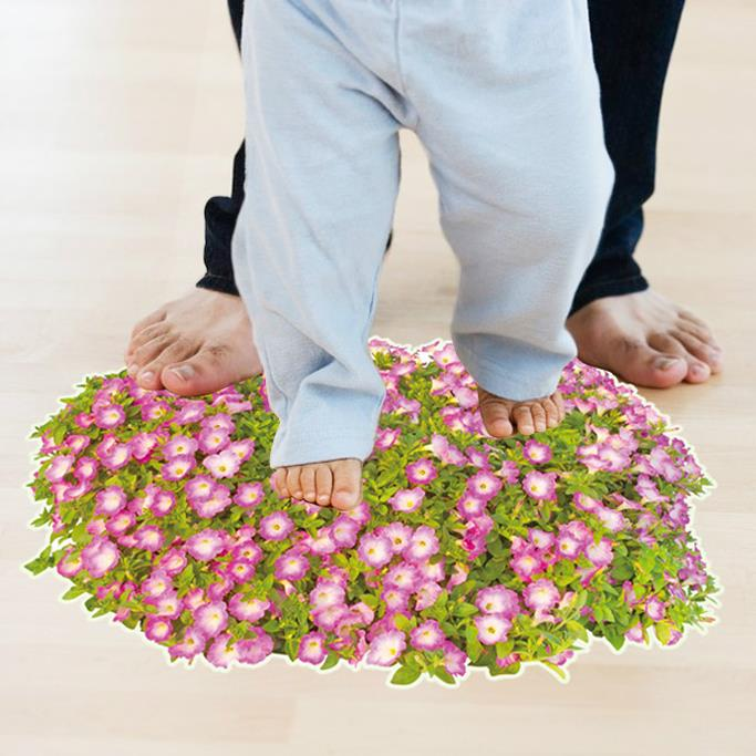 NEW Romantic warmful Plant flowers wall stickers DIY 3D 60x90CM floor bathroom floor decorative
