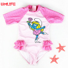 Cute Baby Swimsuit Girls Bathing Suits With Back Zipper 2017 Infant Baby Girl Dot Swimwear Toddler Kids Cartoon Pink Swimsuits(China)