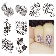 ZKO 1 Sheet Optional Watermark Nail Stickers Black Lace Flower Nail Art Water Transfer Sticker Decals Nails Wraps Decor(China)