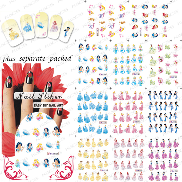 100PCS/LOT BLE1698-1708 Cartoon Princess water stickers for nails Pattern Water Transfer Print Nail Art Sticker Decal<br><br>Aliexpress