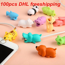1 pcs Cable Bite Protector for Iphone cable Winder Phone holder Accessory chompers rabbit dog cat Animal doll model funny(China)