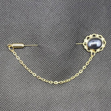 Men's New Sale Rhinestone Gold Tie Tack Chain Suit Pin Lapel Brooch Accessories(China)