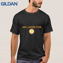 Buy Tight T-Shirt Will Work Bitcoin New Black Short Sleeves Male TShirt 100% Cotton Clothing O Neck for $13.25 in AliExpress store