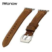 Italian Calf Genuine Leather Watchband Handmade Strap iWatch Apple Watch 38mm 42mm Wrist Band PAM Buckle Belt Bracelet Brown - Nicebuy Store store