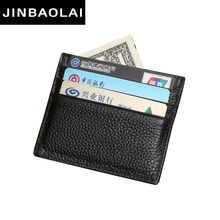JINBAOLAI 2016 Hot Sale Vintage Slim Mini Leather Credit ID Card Holder Wallet Purse Bag Pouch Book Cover Case 2016 Gift For Men