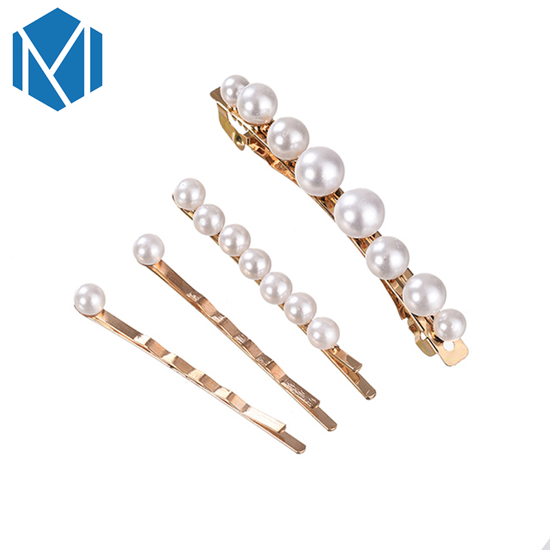 M MISM 4pcs/Set Elegant Women Girl Pearl Hairpins Vintage Gold Plated Hair Clips Wedding Barrettes Ornament Classic Hair Jewerly(China (Mainland))