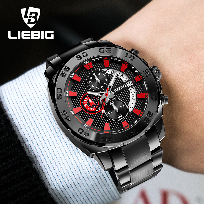 LIEBIG Quartz Watches Men Stainless Steel Band Waterproof Watch Calendar Outdoor Stopwatch Sports Wristwatches Relogio Masculino<br>