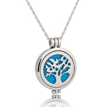 Fashion Jewelry Hollow Tree Of Live Round Pendant Aromatherapy Necklace For Women Glow In Drak Luminous Necklace Good Gift