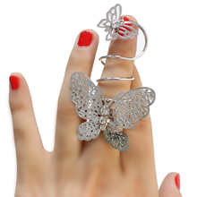 Silver Vintage Punk Personalized European Style Exaggerated Hollow Butterfly Pattern Flexible Long Ring
