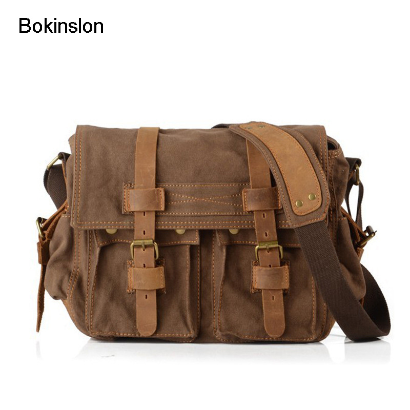 Bokinslon Vintage Men Messenger Bags All-Match Mans Messenger Canvas Bags Creative Mens Brand Bag<br>