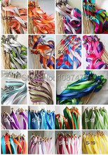 20Pcs Twirling Streamers Wedding Favor Ribbon Sticks/Wands With Bells 15 color can choose