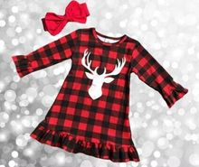 Christmas fall/winter baby girls clothes children red black plaid reindeer print cotton ruffle boutique outfits match clip bow(China)
