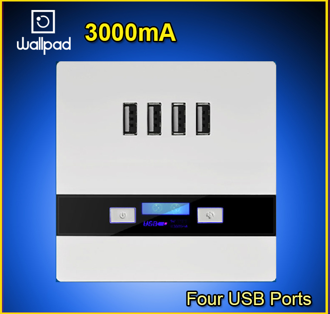 Hot selling 110-250V White 4 Ports 5.0V USB Outlet Power Charger 3.0,4 USB Wall Socket 3000ma, 86 Standard Free Shipping<br><br>Aliexpress