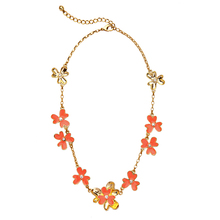 Summer Gold Color Sweet Enamel Flower Orange Necklace Ladies 2016 Trendy Collar Necklace Birthday Gift
