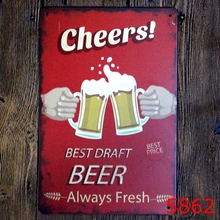 Cheers Beer Printing Wall Sticker Metal Tin Sign Iron Antique Tin Painting House DECOR Coffee Shop Sticker 20X30CM(China)
