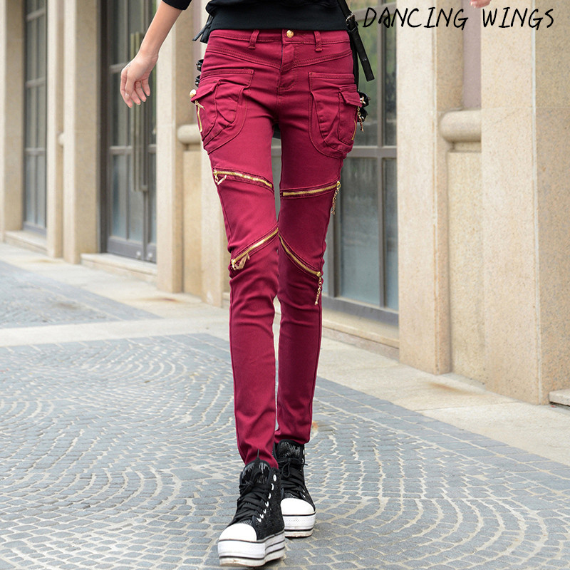Spring personality pocket zipper jeans femme stretch slim fit pants women's casual pants loose harem pants plus size