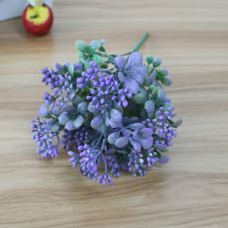 Artificial Plastic Branch Flower Wedding Home Decor Garden Artificial Plants Fake Plastic Milan Grass Foliage Plant Tree (4)
