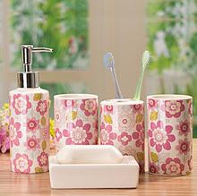 5 pcs Ceramic bathroom set bathroom supplies accessary wash set toothbrush cups wash hands lotion bottle soap dishes