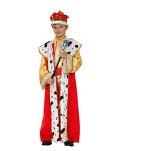Red Golden Kids Boys Arab Costume Prince Cosplay Robe Clothing Set Halloween Carnival Fancy Dress Party Decoration