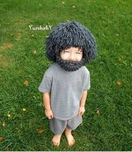 New Wig Beard Hats Hobo Mad Scientist Rasta Caveman Handmade Knit Warm Caps Kids Children Halloween Funny Party Mask Beanies