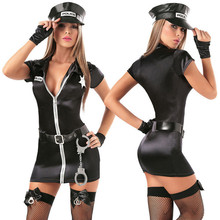 Buy Women Sexy Erotic Fetish Cop Police Costume Zipper Mini Dress Halloween Officer Policewomen Cosplay Fancy Dress Outfit Costumes