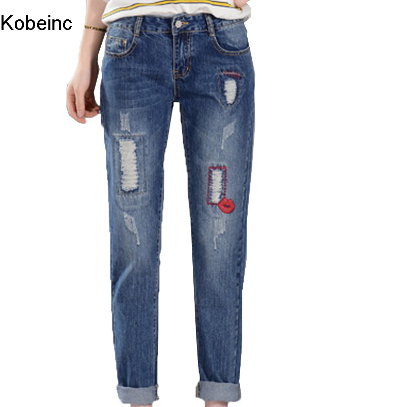 Low Waist Harem Embroidery Pleated Jeans Women Plus Size S~4XL 2017 Spring Summer New Fashion Loose Hole Female Denim Jeans  Одежда и ак�е��уары<br><br><br>Aliexpress