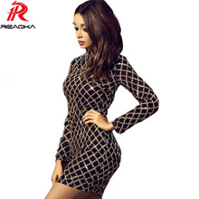 Reaqka Autumn Winter Black Long Sleeve Sequins Dress 2017 Sexy Bodycon Sheath Gold Pattern High Neck Party Dresses Nightclub Hot