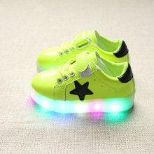 Kids LED Sneakers 2017 New Spring children Colorful flashing led light Girls casual shoes Stars Boys Shoe with lights Size 21-30(China)