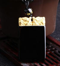 Beautiful Chinese Natural Black Obsidian Carved Gold color Safety Buckle Lucky Amulet Pendant + free Necklace fashion Jewelry