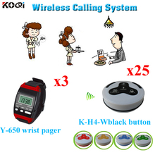 Waiter Server Paging Service System Restaurant Table Calling Waiter Calling Device 3pcs Wrist Pager+25pcs Call Buttons