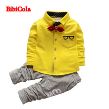 BibiCola spring autumn baby boys formal suit clothing set children lapel bow tie T-shirts +stripe pants cardigan sports outfits(China)