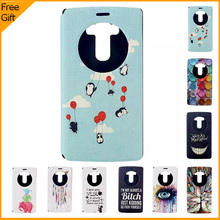 New Luxury Cute Cartoon Flip PU Leather Cell Phone Case Cover For LG G4 H815 Cover Window Shell Back Cover With Stand & Gift