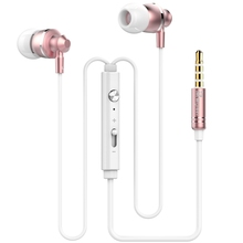 Luxury Brand Metal Aluminum Earphone Head phone Headphone 3.5MM Stereo Bass For iphone Samsung Quality auriculares Rose Gold