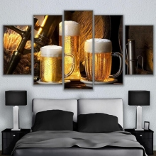 Modular Canvas Painting Wall Art Home Decor 5 Pieces Cold Ones Drink Pictures Living Room HD Prints Beer Poster Unframed(China)