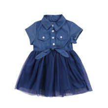 Children Costume Toddler Kids Girls Denim Blue Summer Party Patchwork Dress Sundress Clothes Casual Beachwear Holiday Clothing(China)