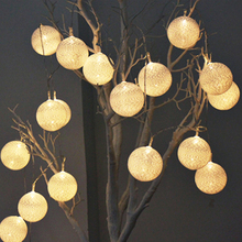 Multicolor 2M Battery Powered Warm White Led Cotton Ball String Light Fairy Lights for Wedding Party Christmas Natal Garlan(China)