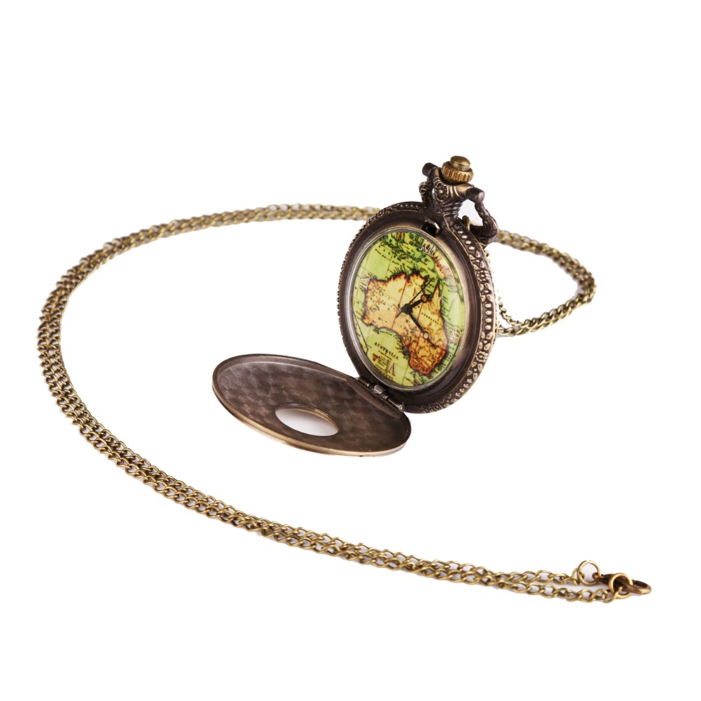 Bronze Antique Vintage Map Pattern Hollow Pendant Necklace Quartz Watch Steampunk Pocket Watch Death Note Relogio De Bolso <br><br>Aliexpress