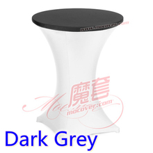 Dark grey colour spandex top cover for round cocktail lycra table cloth wedding banquet party cocktail table decoration sale
