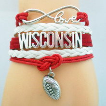 SANDEI Jewelry Infinity Love Wisconsin BADGERS Football college Team Bracelet red white Sports friendship gifts B09131(China)