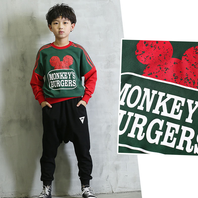 hip pop casual baby boys set clothing 2017 new spring autumn sports suit for boy t shirts tops harm pants 2 pcs children sets<br>
