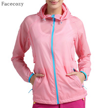 Facecozy Summer Outdoor Women Camping Jacket Female Quick Dry Solid Fishing Coat Onelayer Zipper Pockets Anti-UV Jackets