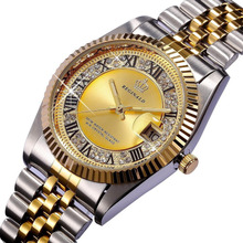 REGINALD Quartz Watch Men 18k Yellow Gold Fluted Bezel Pearl Diamond Dial Full Stainless Steel Luminous Clock(China)