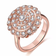 Tuker Design Inlaid Lace round ring Zircon Elegant Wedding Rings For Women  Exquisite Bridal Engagement Finger Ring