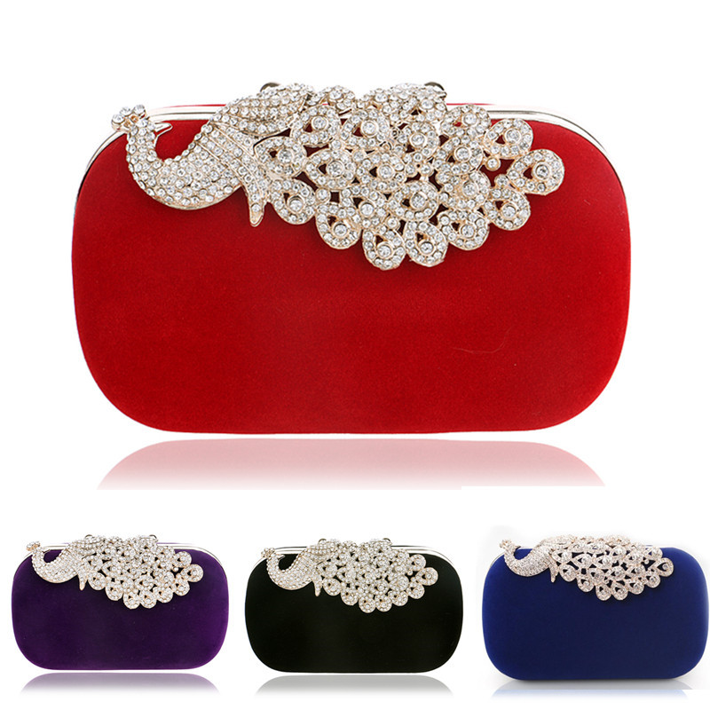 Hot Selling Peacock Metal Diamonds Women Evening Bags Candy Mixed Color Small Day Clutches Handbags For Wedding<br><br>Aliexpress