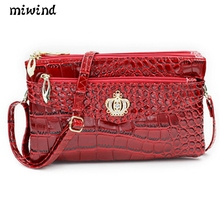 MIWIND 2017 Hot Women Genuine Cow Leather Bag Fashion Crocodile Pattern Ladies Clutch Chain Shoulder Crossbody Messenger Bags - Embellishment life Store store