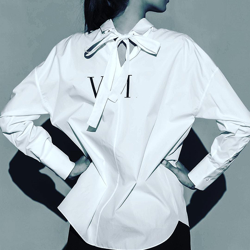 Ladies fashion new Spring letter bowknot loose white long sleeve shirt Female Butterfly Knot Women Shirt
