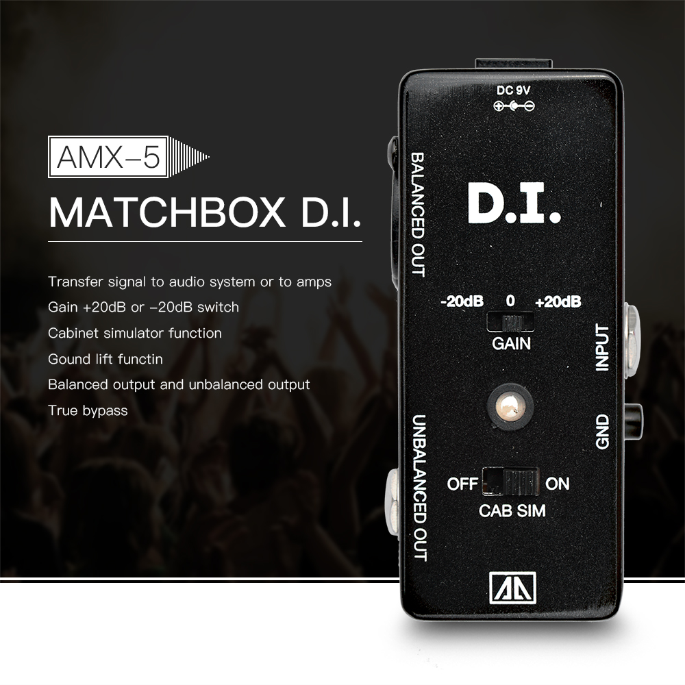 AROMA AMX-5 Cabinet Simulator DI Box Guitar Effect Pedal Transfers Guitar/ Bass Signal Directly to Amp Aluminum Alloy Body<br>