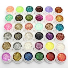 Pro 1 Bottle 36 Color Nail Art Sequins Glitter UV Gel Builder Polish Set for Acrylic For DIY Manicure Design Decorations Tools