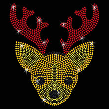 2pc/lot Baby Reindeer  Rhinestone Applique iron on transfer hot fix rhinestone motif designs patches for shirt dress bag pillow